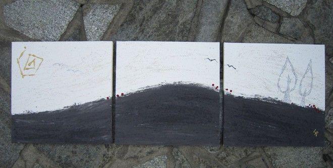 (¯`'•.ASTRATTO.•'´¯) quadro moderno 40X120 cm 3parti con certificato autenticità