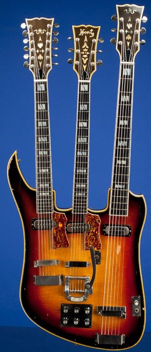 Sam Koontz 12 / 6 / Baritone triple neck Guitar --- https://www.pinterest.com/lardyfatboy/