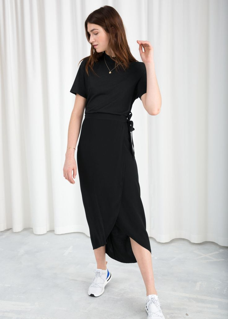 Curved Hem Midi Wrap Skirt