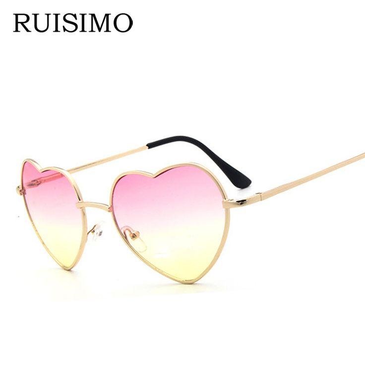 Heart shaped Sunglasses WOMEN red ladies metal Reflective LENES sun GLASSES MEN Mirror oculos de sol NEW sun GLASSES for women