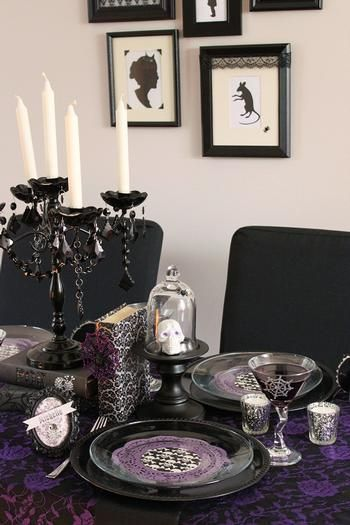 57 cool purple halloween dcor ideas purple halloween dcor with white wall black purple dining table chair stool candleholder plate glass - Vampire Halloween Decorations