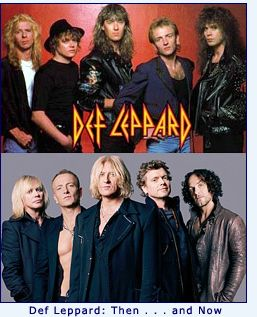 Def Leppard then and now- favorite band of the 80's.  I grew up liking the mellow stuff but my brothers rocked the house with this!! Until Dad came home!!