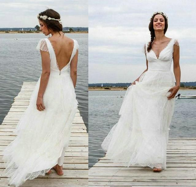 Cheap Lace Beach Wedding Dresses 2016 Sheer Cap Sleeves Lace Applique A Line V Neck Backless Tiered Floor Length Marie Laporte Cassandra Debenhams Dresses Lace Wedding Dress From Bestdavid, $130.66| Dhgate.Com
