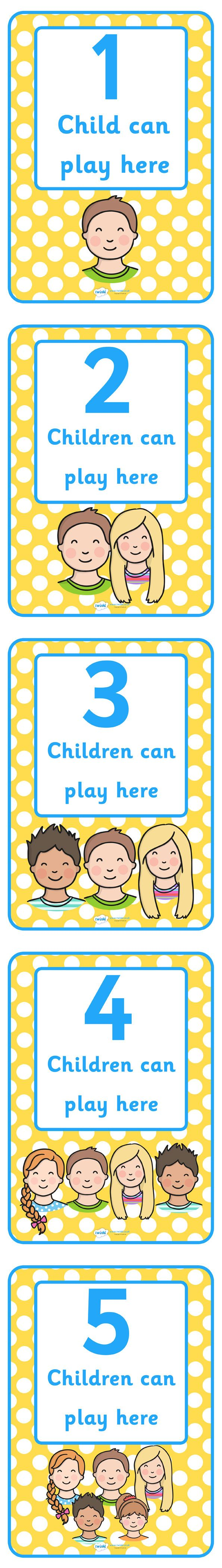 Twinkl Resources >> How Many Can Play Here Display Posters  >> Thousands of printable primary teaching resources for EYFS, KS1, KS2 and beyond! display, classroom, poster, classroom area display, child self management