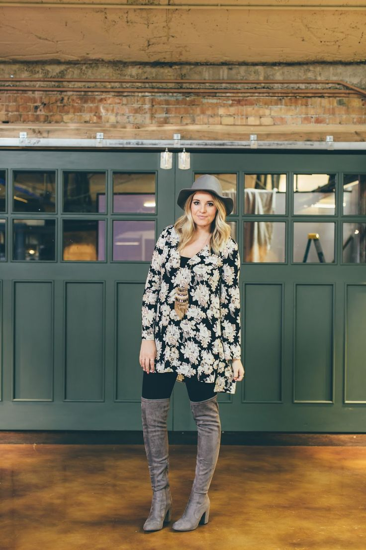 Floral tunic and thigh high boots. The perfect postpartum outfit. Outfit from www.theredclosetdiary.com || instagram: jalynnschroeder