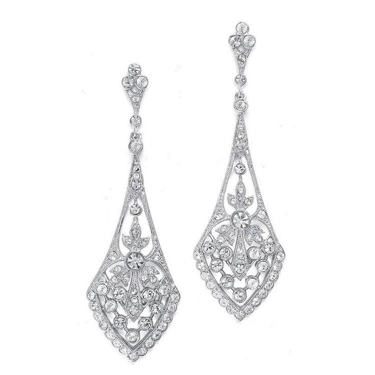 These top-selling bridal earrings with inlaid cubic zirconia are what make vintage wedding jewelry so popular!                                                                                                                                                                                 More