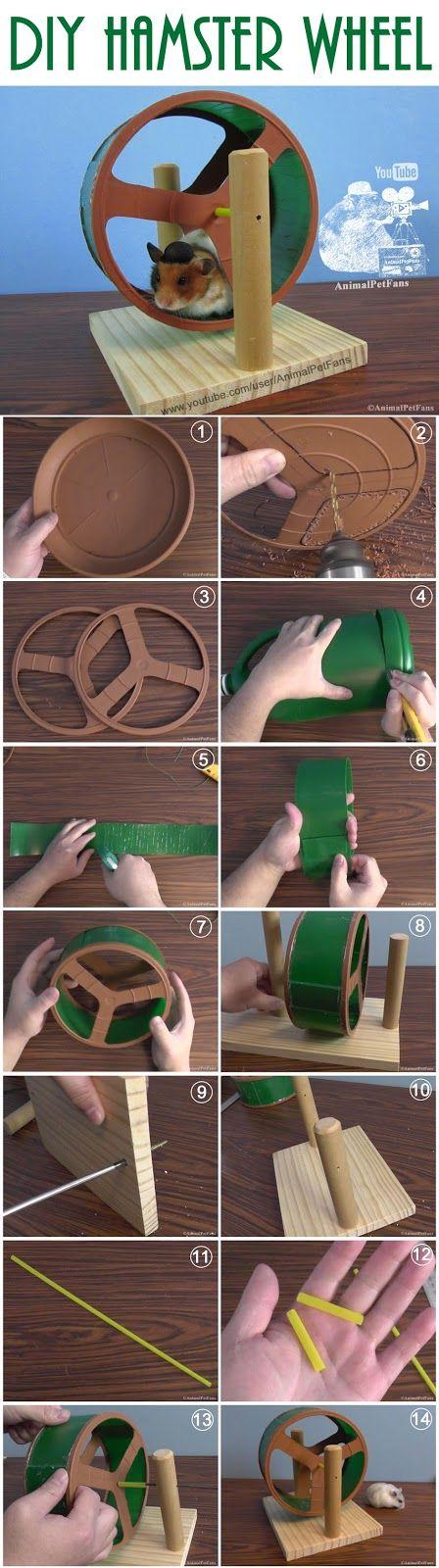 DIY Hamster Wheel Como fazer uma rodinha para hamster by AnimalPetFans. #hamster #DIY #animals