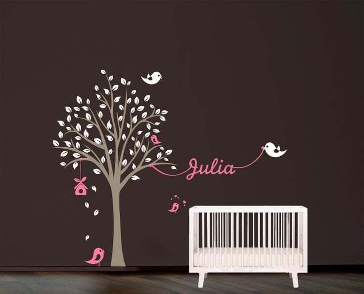 Tree with birds and name Wall Decal. Wall Sticker. Vinil wall decal. Nursery decal. $52.00, via Etsy.
