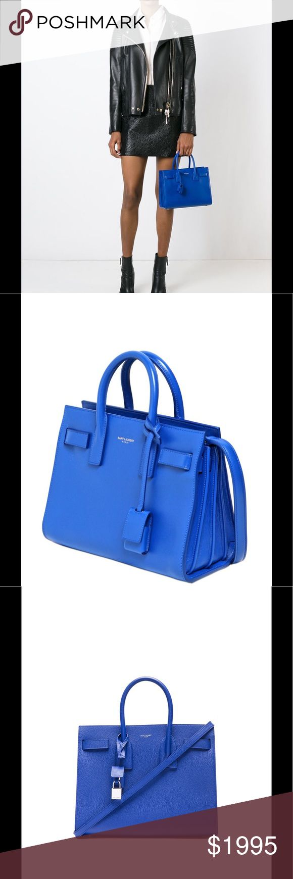 Saint Laurent Baby Sac de Jour Blue - PRICE FIRM😍 SIGNATURE SAINT LAURENT BAG W/ TUBULAR HANDLES, ACCORDION SIDES, COMPRESSION STRAP W/ TABS, EMBOSSED SAINT LAURENT SIGNATURE AND REMOVABLE SHOULDER STRAP.   Dimensions  10.1 inches  8.2 inches  5.1 inches  100% Calf-skin leather  •	Grosgrain lining  •	REMOVABLE LEATHER ENCASED PADLOCK  •	Silver-TONED HARDWARE  •	1 SLOT POCKET AND KEY RING W/ PADLOCK KEYS AFFIXED TO INTERIOR W/ A SNAP  •	BRASS FEET  •	handle drop : 9,5 cm, shoulder strap drop…