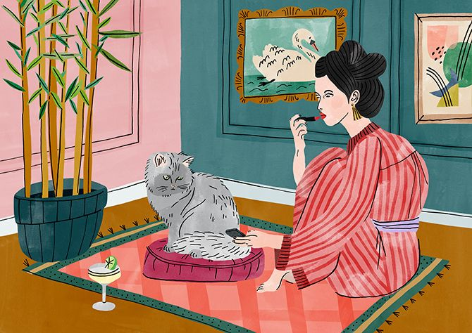 I love these illustrations from Dutch artist Bodil Jane. Her female subjects bring such attitude and sass and their living spaces possess so much beautiful detail and character, I can't help but want to be a part of her make believe world.