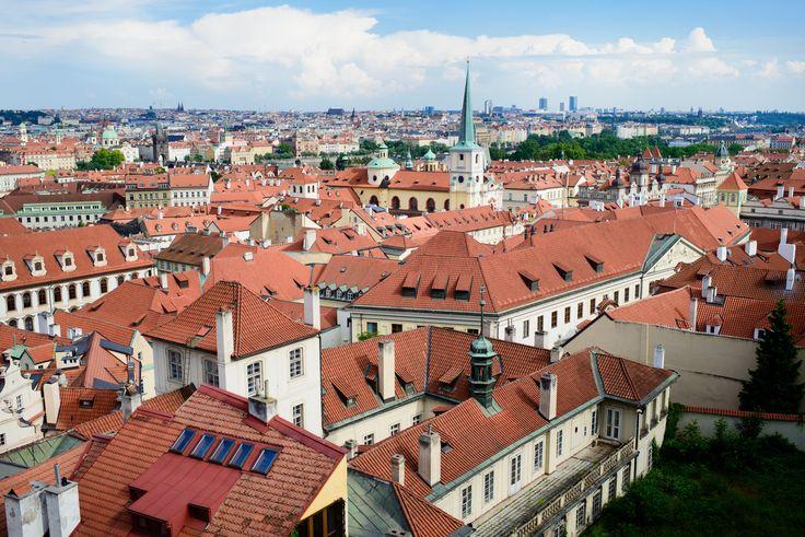 Prague roofs. Garden in Prague castle area