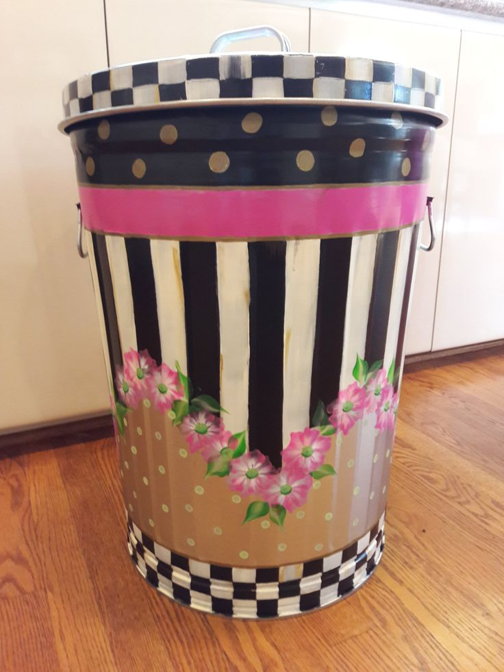 Mackenzie Childs Inspired - Hand Painted 20 Gallon Galvanized Metal Trash/Garbage/Storage  Can - Courtly check and ceramic polka dots on lid by krystasinthepointe on Etsy
