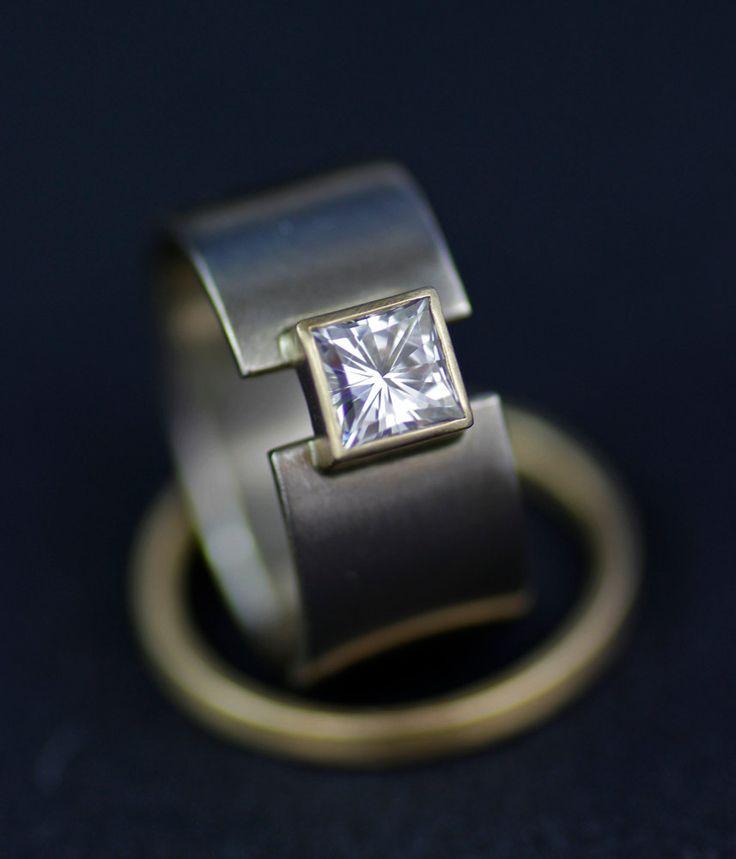 Venda de boda anillo de bodas único 14K oro anillo amplio