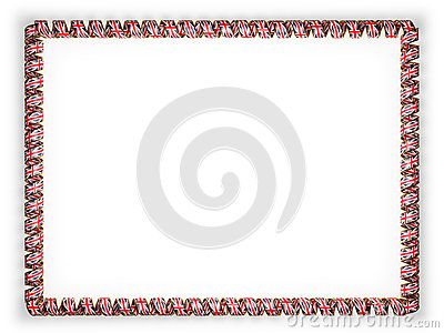 Frame and border of ribbon with the United Kingdom flag, edging from the golden rope. 3d illustration.