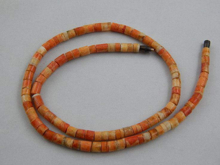 "Vintage Southwestern Style Tiger Sponge Coral Heishi Bead Necklace 16"""