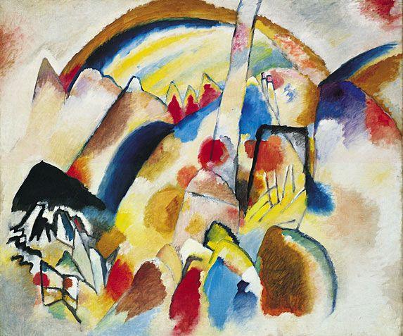 Landscape with red spots   Kandinsky