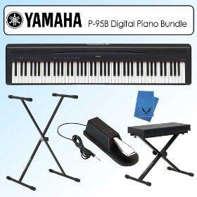 Yamaha P95B P-95B Graded Hammer Standard Black Digital Piano Bundle, (digital piano, keyboard, yamaha, piano, weighted keys, weighted, keyboard piano yamaha p95, stand, 88 keys, electronic keyboards)