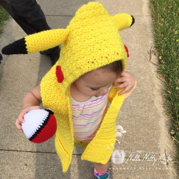 Pikachu Hooded Scarf baby pikachu costume by NellsNattyKnits