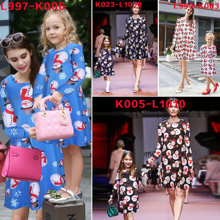 Family Matching Mother Daughter Dresses Christmas Mommy and Me Outfits Clothes Cotton Long Sleeve Matching Family Dress MB054