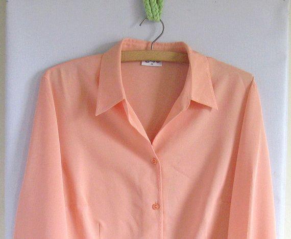 SALE 1980s Secretary Blouse Peach by vintachi on Etsy, $14.99