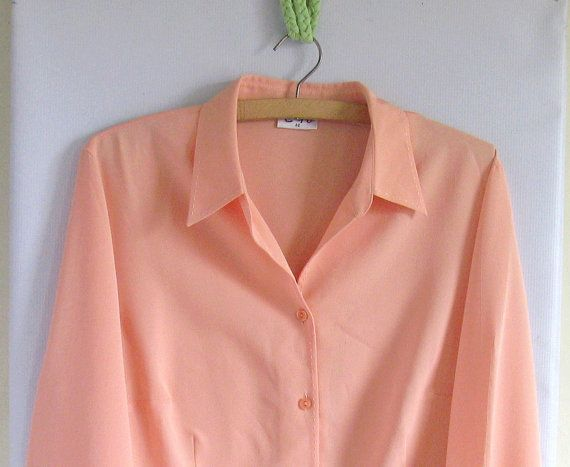 SALE 1980s Secretary Blouse Peach by vintachi on Etsy, $14.99