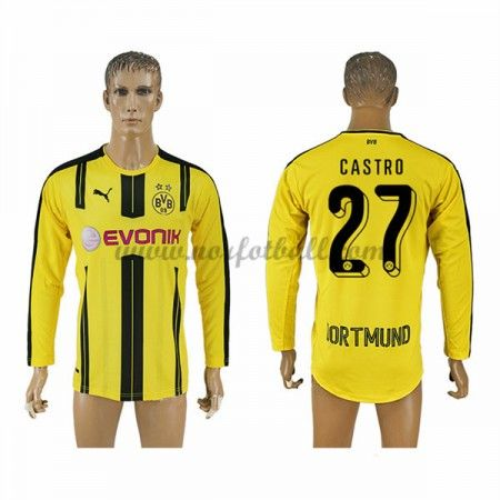 Billige Fotballdrakter BVB Borussia Dortmund 2016-17 Castro 27 Hjemme Draktsett Langermet