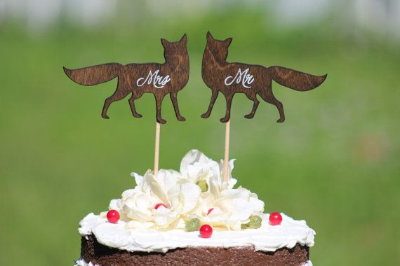 Fox Wedding Cake Topper  Mr & Mrs   Rustic Country by WeddingPros