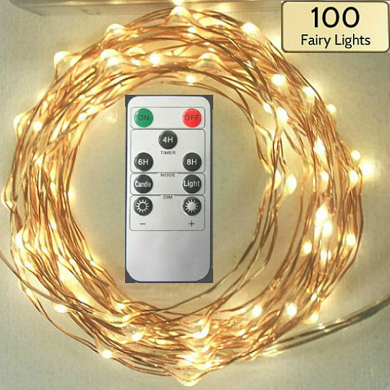 Remote Controlled Lights! 100 Fairy Lights, 17-foot (5m) wire strand.  Choose battery-operated or plug-in string lights with remote control.