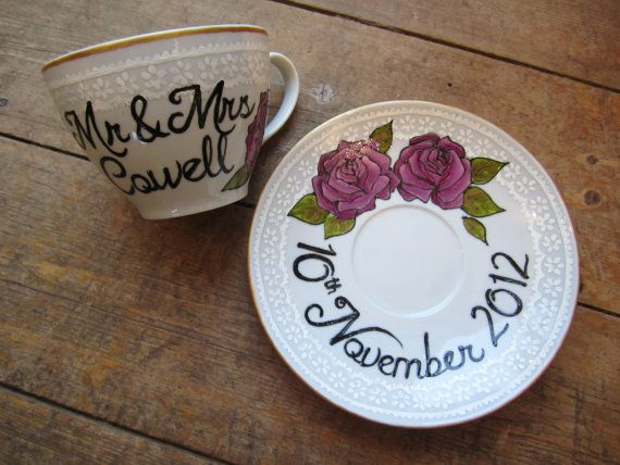 Lace effect hand painted wedding tea cup and saucer, personalised gift or decoration via Etsy