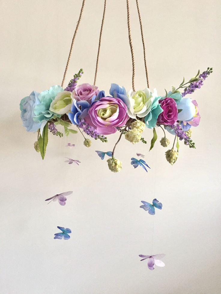 Flower Mobile, Nursery Mobile, Baby Girl Mobile, Butterfly Mobile, Floral Mobile, Rustic Mobile by MeMyMemories on Etsy https://www.etsy.com/listing/501270236/flower-mobile-nursery-mobile-baby-girl