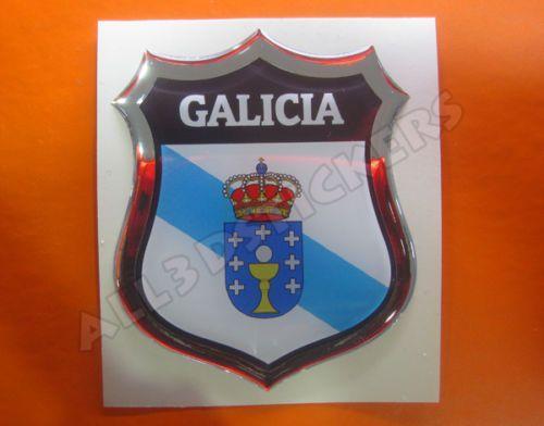 5.95 € - Pegatina-Emblema-3D-Relieve-Bandera-Galicia-Todas-las-Banderas-del-MUNDO