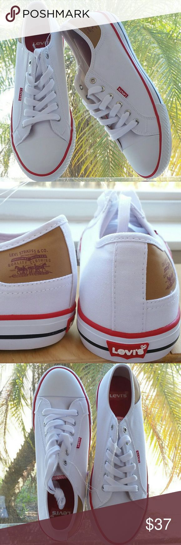 Levi's Canvas Sneakers Levi's brand new white washable canvas sneakers. Absolutely comfortable and look really cute paired with everything to make your outfit for the Festival look casually chic chic and fun. White with red lettering black/red piping tan/red signature logo @ outside of ankle earthy sand color sole. I would wear these with crop pants a pair of rolled up jeans a skirt or a fun dress. You would look super crisp and cute in these. Will be shipped in original box.11L 4W. Levi's…