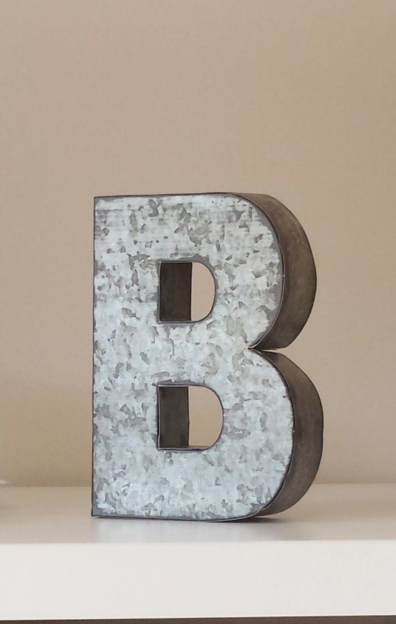 2 LARGE METAL LETTER Zinc Steel Initial Home Room Decor Diy Signs Letter Glitter Vintage Style Gray Silver Monogram Alphabet Rustic Wedding