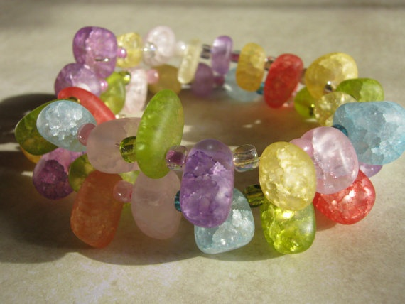 Rock Candy Memory Wire Bracelet by HobbyTimeDesign on Etsy, $15.00