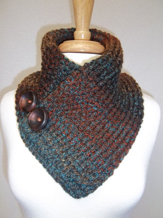 Knitted Neck Warmer Rust Turquoise Brown Buttoned Scarf Cowl Neck Warmer Scarflette