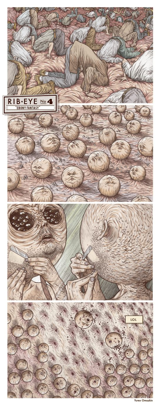 These creepy and bizarre illustrations are by the creative Yurex Omazkin, he is a Mexico based illustrator. To see more of his work, head over to his website.