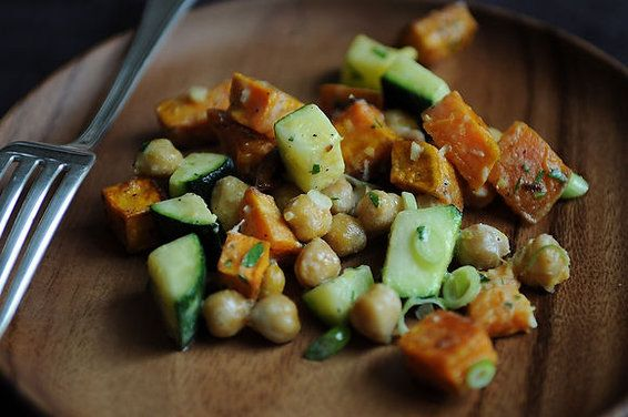 Yam, Zucchini, and Chickpea Salad by Rivka, food52 #Salad #Veggie #Yam #Chickpea #Zucchini #Rivka #food52: Chickpeas Salad Recipe, Summer Dishes, Zucchini Recipe, Beans Recipe, Salad Dresses, Detox Recipe, Healthy Recipe, Food Recipe, Chickpea Salad
