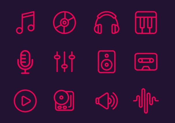 12 Music Line Icons (PNG+SVG)