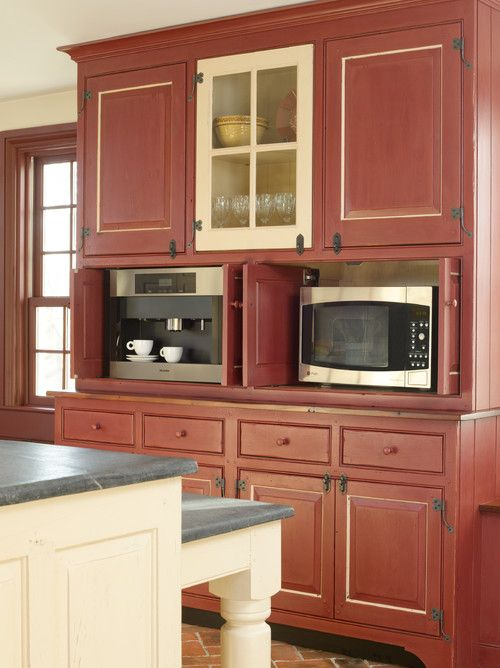 Country Kitchen in Red and Cream - Town & Country Living