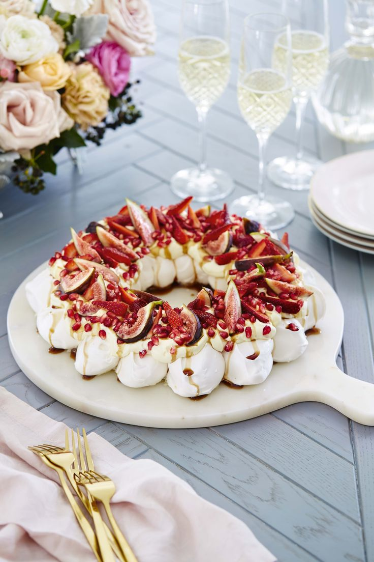 Pavlova wreath with strawberries, pomegranate & figs  Home Beautiful Magazine Australia