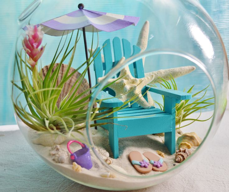 "Beach Terrarium  Kit ~ Day at the Beach Terrarium ~ Beach Umbrella Color Choice ~ Adirondack Chair ~ Air plants ~ 8"" Glass Globe ~ Gift by BeachCottageBoutique on Etsy"