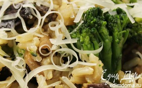 Коричневый рис с грибами и брокколи   Кулинарные рецепты от «Едим дома!»