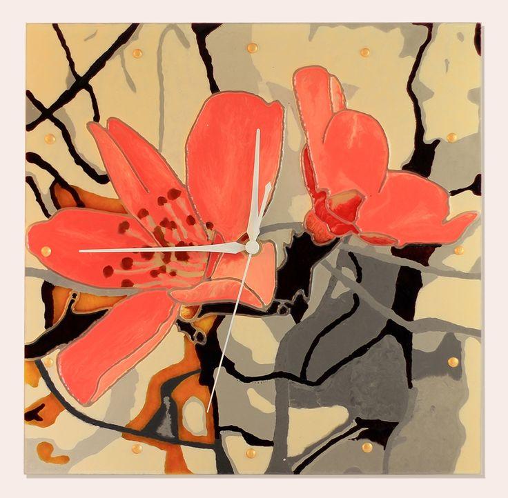 Liliomszál - kézzel festett üvegóra - 30x30