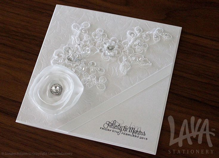 Sequin lace wedding invitation with satin flower by www.lavastationery.com.au