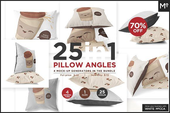 25 in 1 Pillow Angles Mock-up Bundle by Mocca2Go/mesmeriseme on @creativemarket