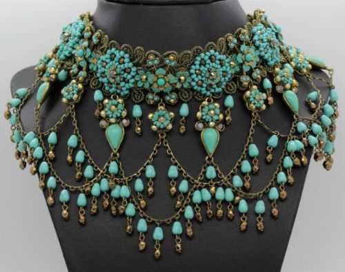 Signed-Michal-Negrin-Victorian-Style-Turquoise-Choker-Necklace