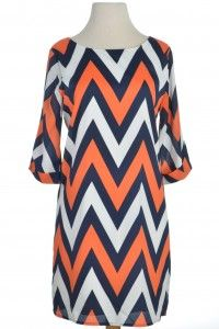 Cute orange and blue chevron dress! Only $49