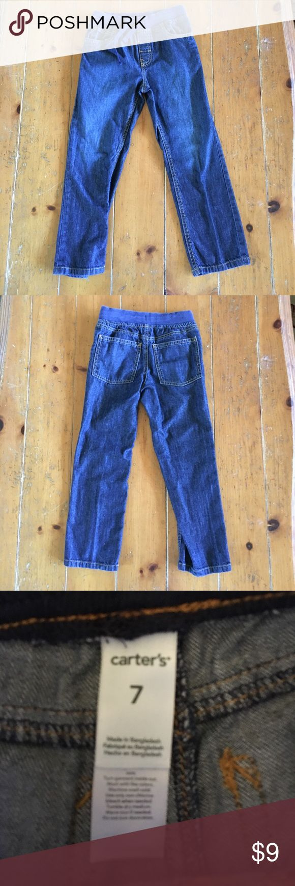 Boys 7 Carters elastic drawstring dark jeans Boys 7 Carters elastic drawstring dark jeans. Worn once. My son outgrew them before he really got to wear them. Excellent condition. All of my items are from a smoke free home. I consider reasonable offers and offer a discount on bundles. No trades. Carter's Bottoms Jeans