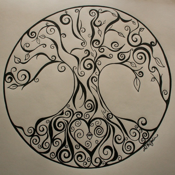 Awesome tree of life with a heart at the center of the roots. Cool.