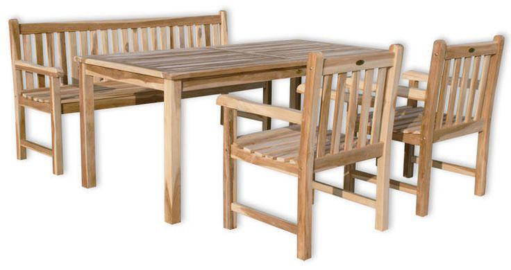 KMH® Teak Gartensitzgruppe Tisch 180 x 90 cm Stühle Stuhl Bank Sitzgruppe Holz in Garten & Terrasse, Möbel, Garnituren & Sitzgruppen | eBay!